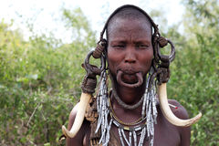 Mursi woman. Omo valley Ethiopia Royalty Free Stock Photos