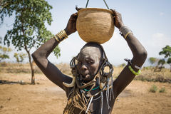 Mursi woman with bowl Royalty Free Stock Photography
