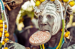 Mursi woman with lip plate Royalty Free Stock Images