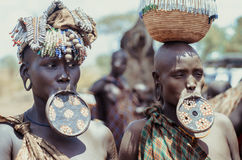 Mursi woman with lip plate Stock Photos