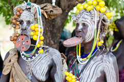 Mursi woman with lip plate Stock Images