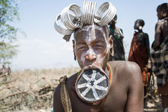 Mursi woman with a strange lip plate Royalty Free Stock Image