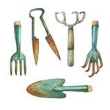 Murslev, sax, högaffel och annan utrustning som är nödvändiga för trädgårds- förbättringar Royaltyfri Foto