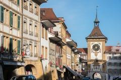 Murtenstad in de Winter, Zwitserland, Europa stock afbeeldingen