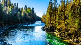 The Murtle River flowing to Whirlpool falls in the Cariboo Mountains of Wells Gray Provincial Park, BC. The Murtle River flowing to Whirlpool falls in the royalty free stock photos