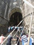 Murud Janira堡垒,阿利巴格印度入口的游人  库存照片