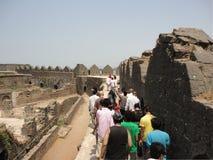 Murud Janjira堡垒,阿利巴格印度 免版税库存图片