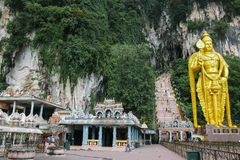 Murugan Statue阁下黑风洞的,马来西亚, 2013年1月 库存图片