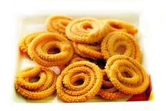 Muruku - spuntino fritto nel grasso bollente indiano del sud popolare fotografia stock