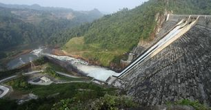 Murum Dam, Bakun Bintulu Borneo. Murum dam, which started building in 2008, is now fully operation. The second largest dam in Sarawak roughly 50 stories hight royalty free stock images