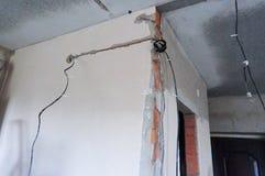 Murum, stroebe, diam, cableado, hilo, electricidad, reparat, plano, faciens fotografía de archivo libre de regalías
