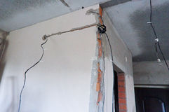 Murum, stroebe, diam, drutowanie, filum, elektryczność, reparat, mieszkanie, faciens Fotografia Royalty Free
