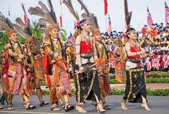Murut folkgrupp av Borneo under den Malaysia självständighetsdagen Fotografering för Bildbyråer
