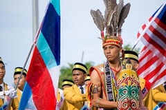 Murut folkgrupp under den Malaysia självständighetsdagen Royaltyfri Bild