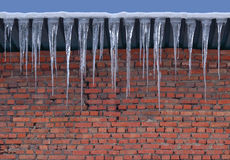 Murverk för buse för tegelstenvägg och stora istappar Bakgrund Fotografering för Bildbyråer