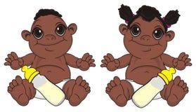 Murzynów niemowlęta siedzą z butelkami mleko ilustracja wektor