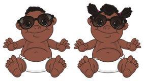 Murzynów niemowlęta w okularach przeciwsłonecznych royalty ilustracja