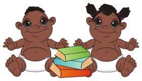 Murzyn para niemowlęta czyta boosk royalty ilustracja