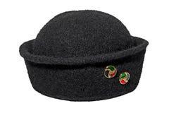Murzynka kapelusz z broszką Zdjęcia Royalty Free