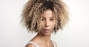 Murzynka z kędzierzawym afro hiar portretem Fotografia Royalty Free