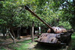 Musée Cambodge - réservoir de guerre Photo stock