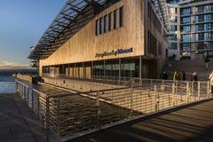 Musée d'Astrup Fearnley à Oslo pendant le crépuscule Photos stock