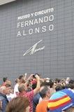 Musée d'inauguration F1 du conducteur Fernando Alonso Images stock