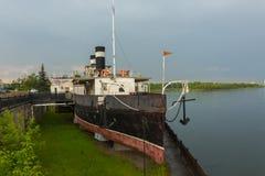 Musée de flottement de Saint-Nicolas de vapeur sur le fleuve Ienisseï Exil du ` s de Lénine en Sibérie en 1897 image stock