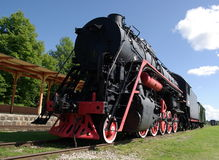 Musée de Haapsalu.A des locomotives à vapeur. Images stock
