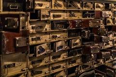 Musée des chiffres de cire à Barcelone sur le Las Ramblas de rue La conception du vol du dépôt de banque pendant les jours des ba Images stock