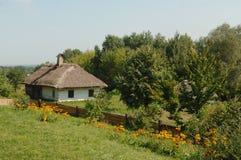 Musée ethnographique Pirohovo de hutte ukrainienne Image libre de droits
