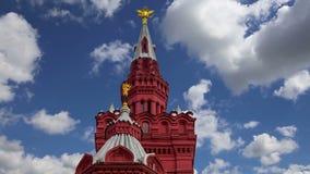 Musée historique contre le ciel, place rouge, Moscou, Russie banque de vidéos