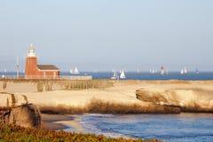 Musée la Californie de phare et de vague déferlante de Santa Cruz Photo libre de droits