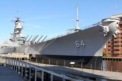 Musée militaire Norfolk, la Virginie du Wisconsin de navire de guerre Photos libres de droits