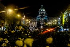 Musée National la nuit Prague - République Tchèque Image stock