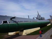 Musée submersible, St Petersbourg, Russie Ce sous-marin a converti en intéressant images stock