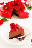 mus czekoladowy tortowa truskawka Zdjęcie Stock
