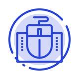 Mus dator, maskinvara, blå prickig linje linje symbol för utbildning stock illustrationer