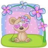 Mus med blommor royaltyfri illustrationer