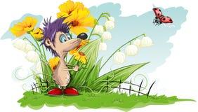 Mus med en blomma Arkivbild