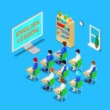 mus och bok Isometriskt klassrum med studenter på engelsk kurs vektor Royaltyfria Foton