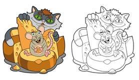 Mus och katt Royaltyfri Bild