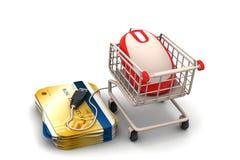 Mus och smart kort med shoppingspårvagnen Royaltyfri Bild