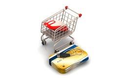 Mus och smart kort med shoppingspårvagnen Royaltyfri Foto