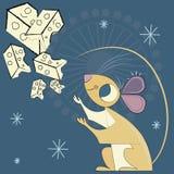 Mus och universumet av ost royaltyfri illustrationer
