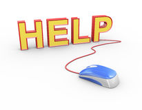 mus som 3d fästas för att uttrycka texthjälp Arkivbild