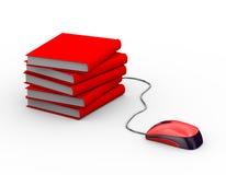 mus som 3d fästas till böcker Royaltyfria Bilder