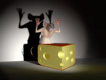 Mus som fångas med ost Royaltyfri Fotografi
