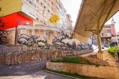 Mus som målas på väggen i Santander Fotografering för Bildbyråer