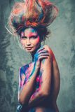 Musa da mulher com arte corporal fotografia de stock royalty free
